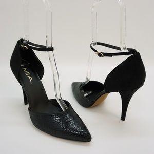 Mia Ankle Strap Pump Two Piece High Heel Black 10